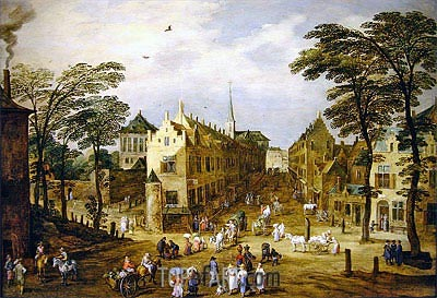 Jan Bruegel the Elder | A View of a Flemish Street with Townsfolk and Waggoners, undated