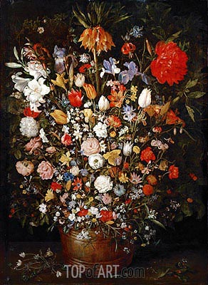 Flowers in a Wooden Vessel, c.1606/07 | Jan Bruegel the Elder| Gemälde Reproduktion
