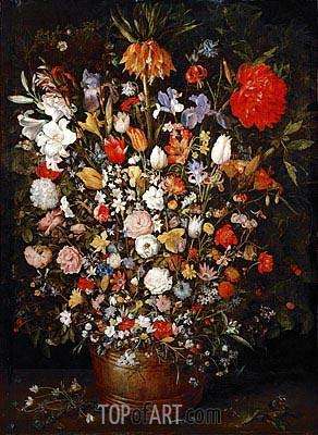 Jan Bruegel the Elder | Flowers in a Wooden Vessel, c.1606/07