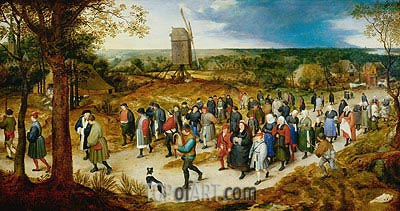 Wedding Procession to the Church, undated | Jan Bruegel the Elder | Painting Reproduction