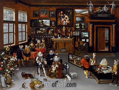 The Archdukes Albert and Isabella Visiting a Collector's Cabinet, c.1621/23 | Jan Bruegel the Elder| Painting Reproduction