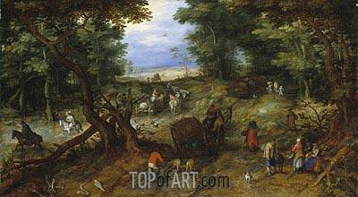 Jan Bruegel the Elder | A Woodland Road with Travelers, 1607