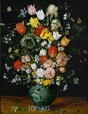 Flowers in a Blue Vase, 1608 | Jan Bruegel the Elder | Gemälde Reproduktion
