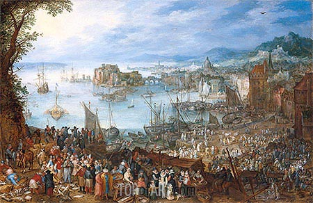 Large Fish Market, 1603 | Jan Bruegel the Elder| Painting Reproduction