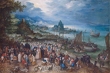 Harbour Scene with Christ preaching, 1598 | Jan Bruegel the Elder| Painting Reproduction