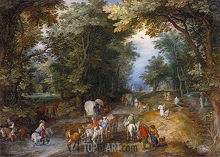 Busy Forest Track, 1605 | Jan Bruegel the Elder| Painting Reproduction