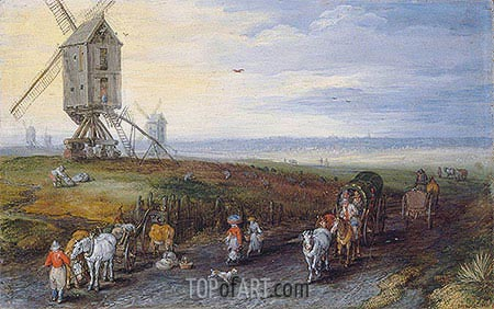 Windmills on a Broad Plain, 1611 | Jan Bruegel the Elder| Gemälde Reproduktion