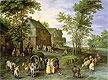 Village Landscape with Figures Preparing to Depart | Jan Bruegel the Elder