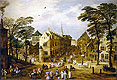 A View of a Flemish Street with Townsfolk and Waggoners | Jan Bruegel the Elder