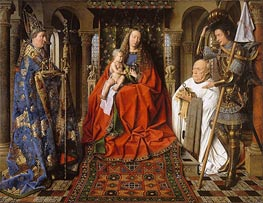 The Virgin and Child with Canon Joris Van der Paele, 1436 by Jan van Eyck | Painting Reproduction