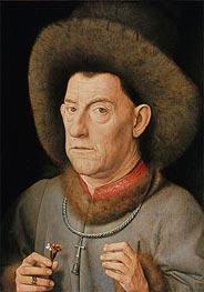 Man with Pinks, undated by Jan van Eyck | Painting Reproduction