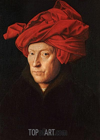 A Man in a Turban (Possibly a Self-Portrait), 1433 | Jan van Eyck| Painting Reproduction
