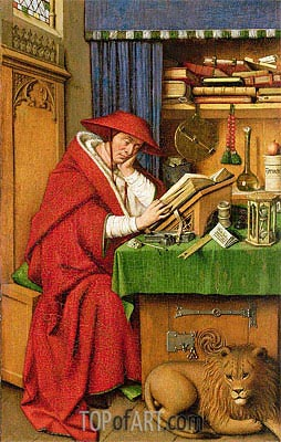 Saint Jerome in His Study, c.1435 | Jan van Eyck | Gemälde Reproduktion