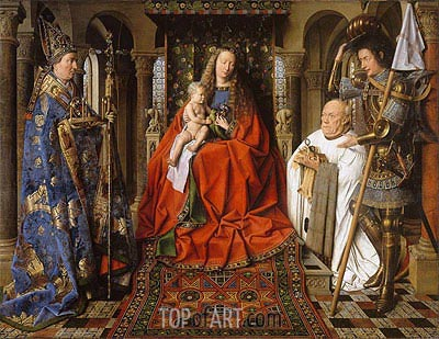 The Virgin and Child with Canon Joris Van der Paele, 1436 | Jan van Eyck | Painting Reproduction