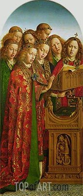 The Singing Angels (The Ghent Altarpiece), 1432 | Jan van Eyck| Painting Reproduction