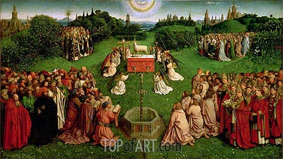 The Adoration of the Mystic Lamb (The Ghent Altarpiece), 1432 | Jan van Eyck| Painting Reproduction