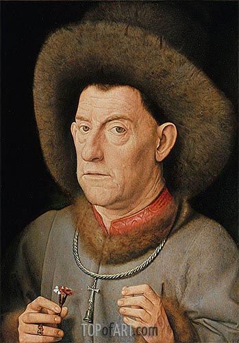 Man with Pinks, undated | Jan van Eyck| Painting Reproduction