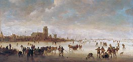 Winter Landscape with Skaters near Dordrecht | Jan van Goyen | outdated