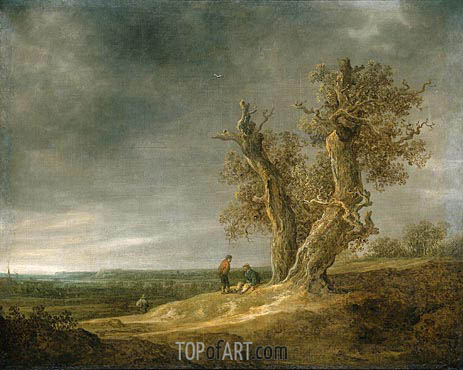 Landscape with Two Oaks, 1641 | Jan van Goyen | Gemälde Reproduktion