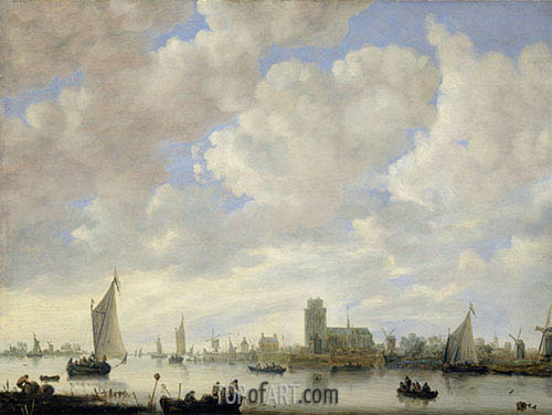 View of the Merwede off Dordrecht, c.1660 | Jan van Goyen | Painting Reproduction