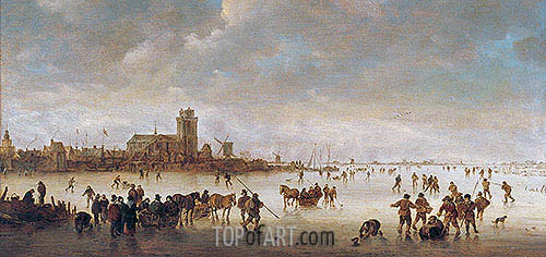 Jan van Goyen | Winter Landscape with Skaters near Dordrecht, undated