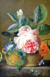 A Basket with Flowers | Jan van Huysum | Painting Reproduction