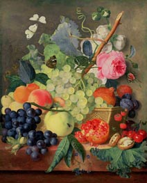 A Basket of Fruit, 1744 by Jan van Huysum | Painting Reproduction