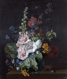 Hollyhocks and Other Flowers in a Vase | Jan van Huysum | outdated