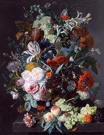 Still Life with Flowers and Fruit, c.1715 by Jan van Huysum | Painting Reproduction