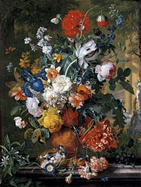 Flowers in a Terracotta Vase on a Marble Ledge | Jan van Huysum | Painting Reproduction