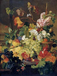 Still Life of Grapes Peaches a Melon and other Fruit | Jan van Huysum | Painting Reproduction