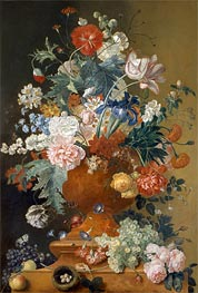 Flowers in a Terracotta Vase, undated by Jan van Huysum | Painting Reproduction