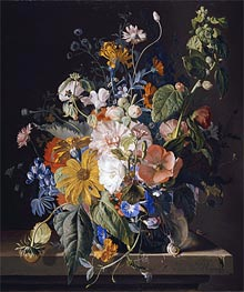 Flowers in a Vase with a Snail on a Ledge | Jan van Huysum | veraltet