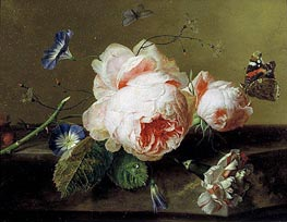 Still Life with Flowers and Butterfly, c.1735 by Jan van Huysum | Painting Reproduction