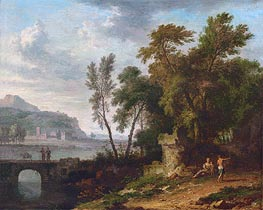 Landscape with Figures, Ruins and Bridge, c.1709/30 by Jan van Huysum | Painting Reproduction