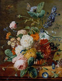 Basket of Flowers with Butterflies | Jan van Huysum | Gemälde Reproduktion