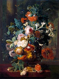 Vase of Flowers in a Park with Statue | Jan van Huysum | Gemälde Reproduktion