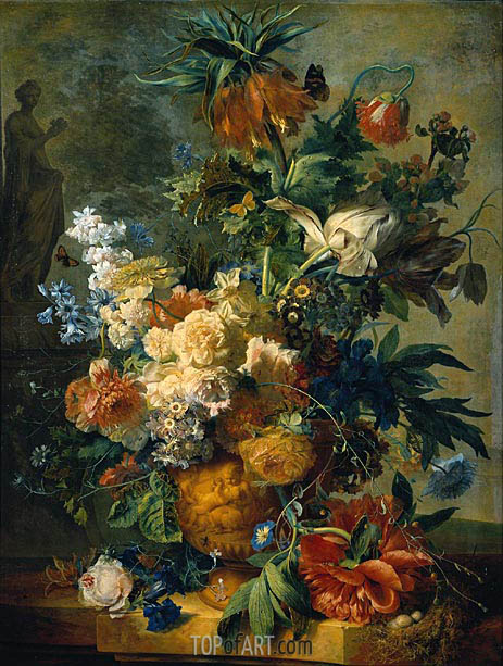 Still Life with Flowers, 1723 | Jan van Huysum| Painting Reproduction