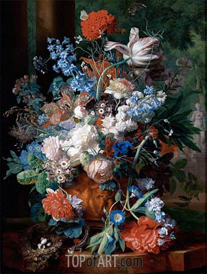 Bouquet of Flowers Against a Park Landscape, undated | Jan van Huysum| Painting Reproduction