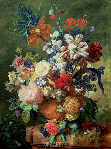 Still Life of Flowers and a Bird's Nest on a Pedestal, undated | Jan van Huysum | Painting Reproduction