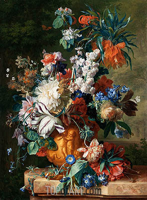 Bouquet of Flowers in an Urn, 1724 | Jan van Huysum| Painting Reproduction