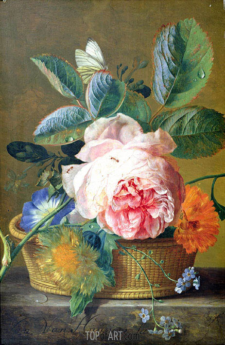 A Basket with Flowers, 1744 | Jan van Huysum | Gemälde Reproduktion