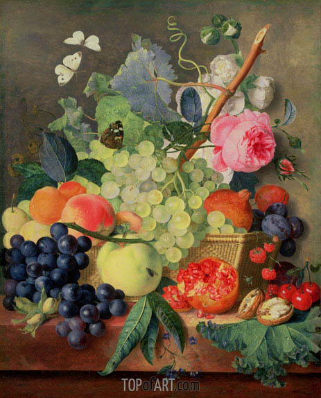A Basket of Fruit, 1744 | Jan van Huysum| Painting Reproduction