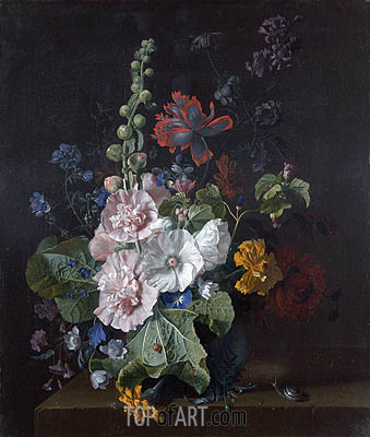 Jan van Huysum | Hollyhocks and Other Flowers in a Vase, c.1702/20