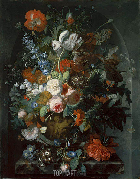 Vase of Flowers in a Niche, c.1732/36 | Jan van Huysum | Painting Reproduction