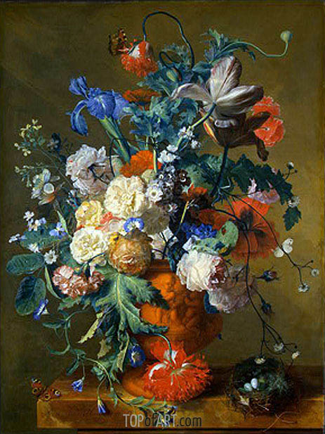 Flowers in an Urn, c.1720 | Jan van Huysum| Painting Reproduction