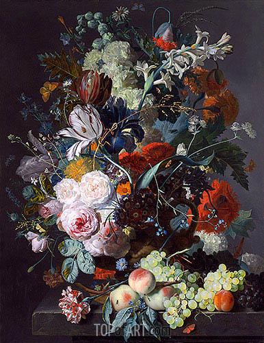 Still Life with Flowers and Fruit, c.1715 | Jan van Huysum| Painting Reproduction