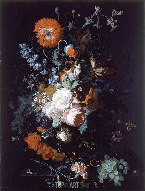 Still Life of Flowers and Fruit, c.1716/17 | Jan van Huysum | Painting Reproduction