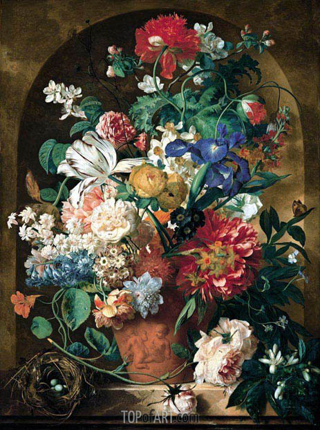 Still Life of Flowers, 1734 | Jan van Huysum | Painting Reproduction