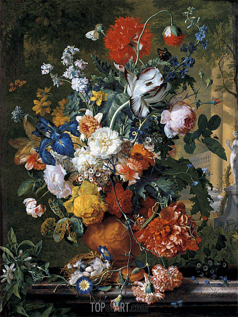 Jan van Huysum | Flowers in a Terracotta Vase on a Marble Ledge, undated